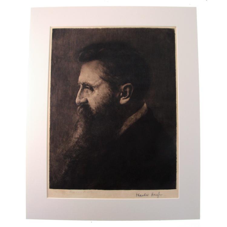 Theodor Herzl Hand Signed Portrait by Hermann Struck.