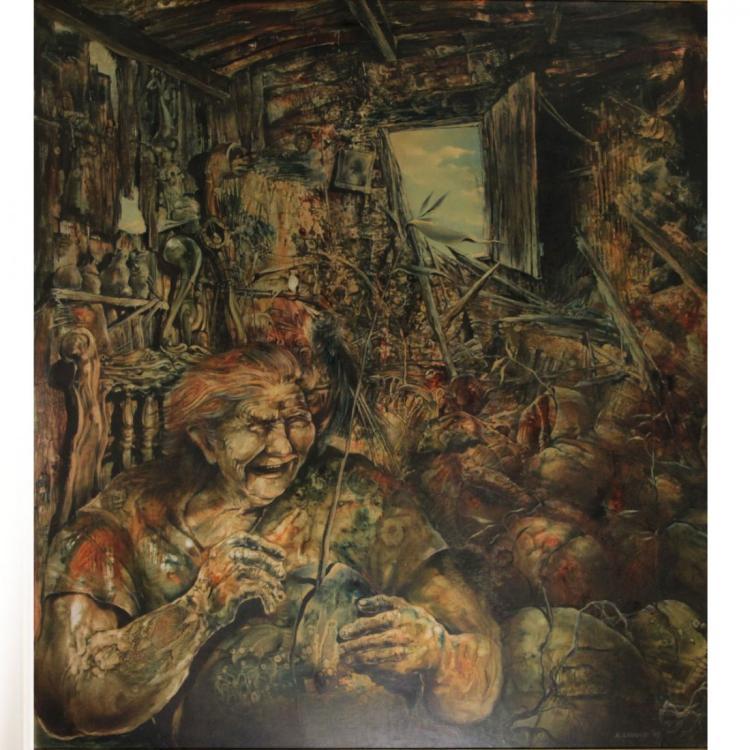Arie Lamdan, Oil on Wood, 1977.