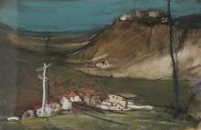 Esther Perez-Arad (1921-2005) - Landscape, Mixed Media on Paper.