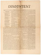 Discontent, ï¾?Mother of Progressï¾? [newspaper]. Vol. I, No. 29 - 1898 Discontent, rare Anarchist newspaper, Home Colony, Washington