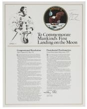 Congressional Resolution Commemorating the First Moon Landing, Signed by Jimmy Carter