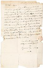 Autograph letter signed with his mark by Benjamin Moore, and African American barber on a ship, requesting pay for his services