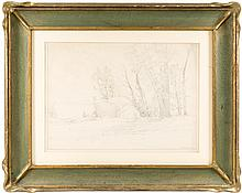 Original pencil drawing of Yosemite Valley by Bolton Brown in preparation for a lithograph
