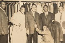 Photographs of African-American baseball players and possibly other celebrities used as advertising for a clothing store