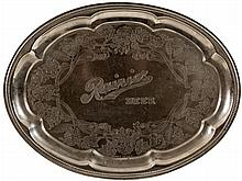 Faux silver serving tray