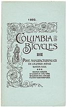 1892. Columbia Bicycles. Pope Manufacturing Co. 221 Columbus Avenue Boston, Mass. - 12 pp. abbreviated catalog of bicycles