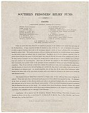 Southern Prisoners' Relief Fund - broadside published in England seeking relief of the suffering of the Confederate prisoners in forts and camps of the Northern States