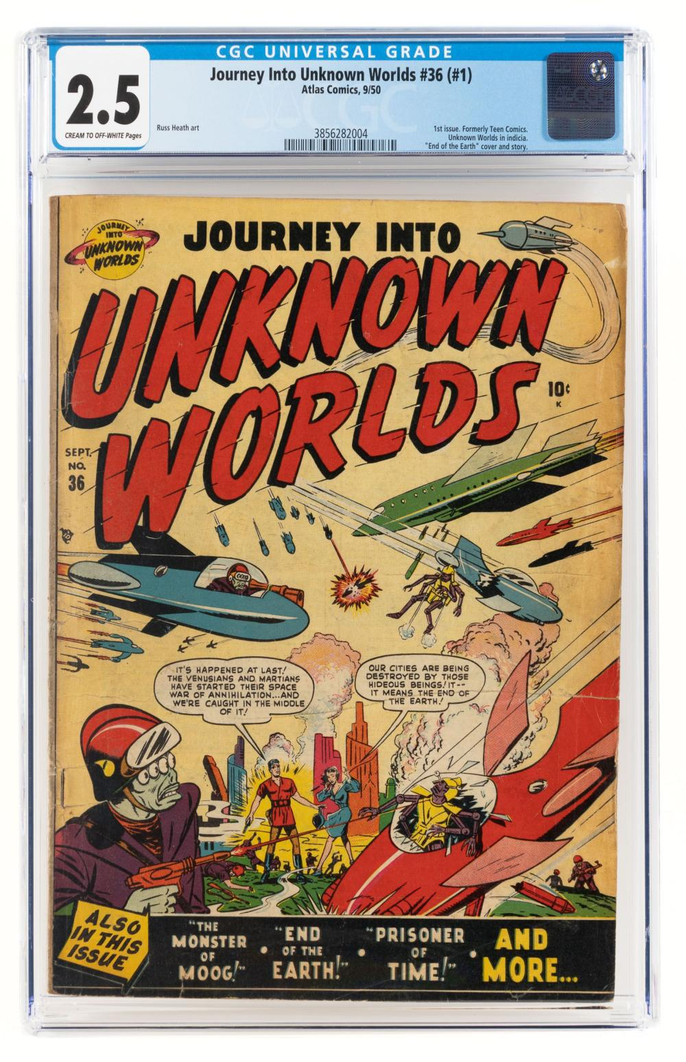 JOURNEY INTO UNKNOWN WORLDS #36 * 1st Ish * CGC 2.5 * End of the World