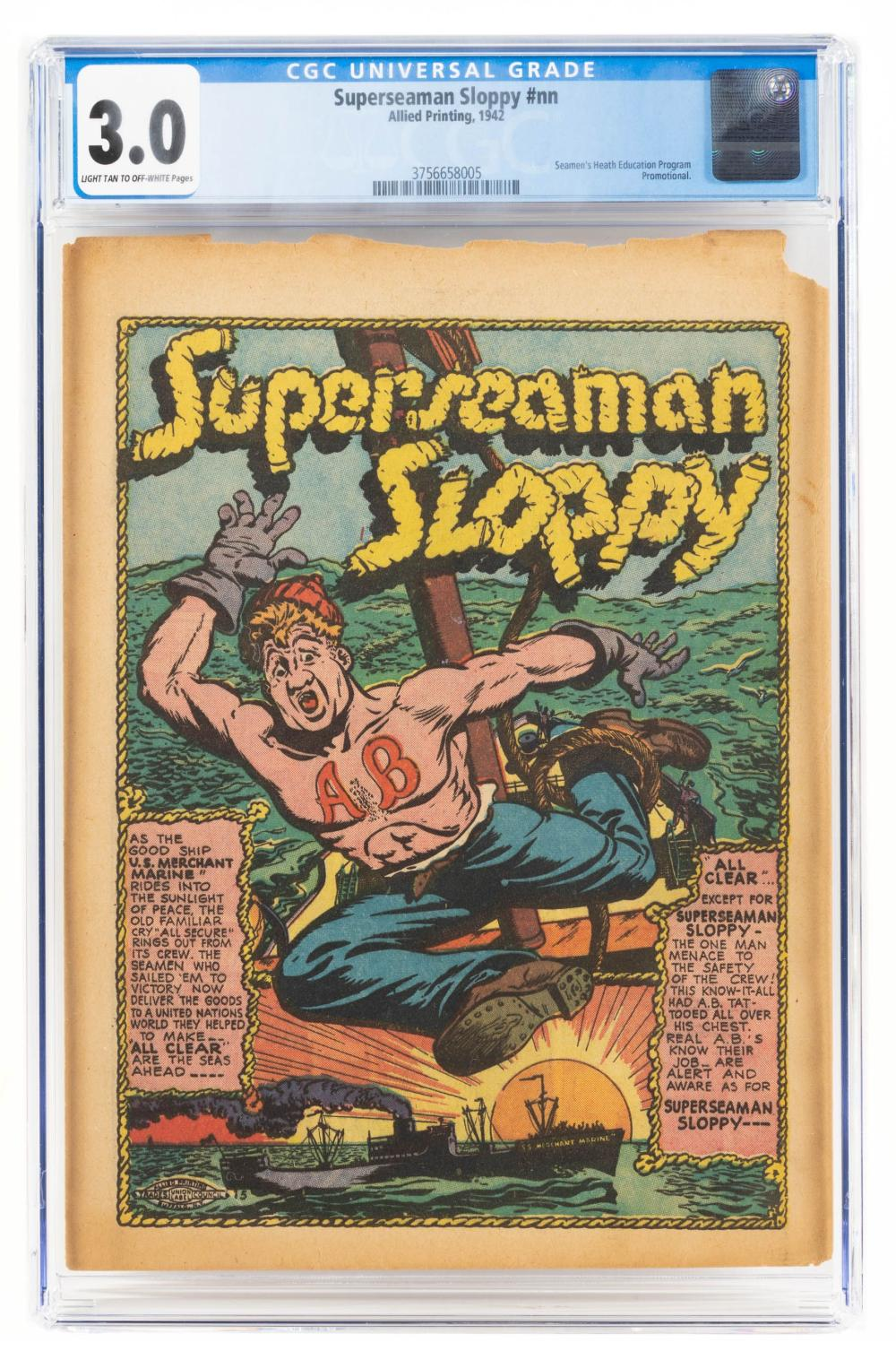 SUPERSEAMAN SLOPPY * CGC 3.0 * Rare 1942 Giveaway w/ Kind of Gross Name