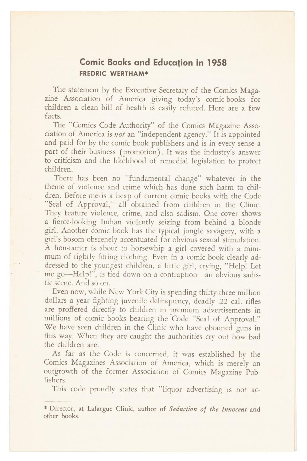 WERTHAM'S Comic Books & Education in 1958 * Rare Pamphet