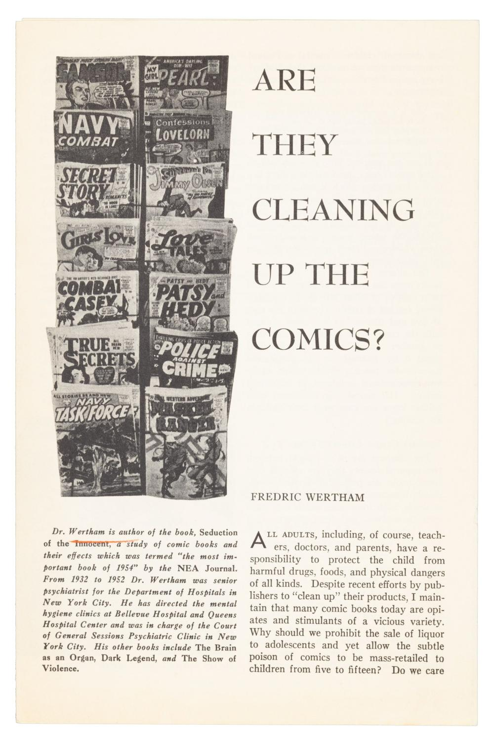WERTHAM's Are They Cleaning Up the Comics? * Rare 1955 Pamphlet