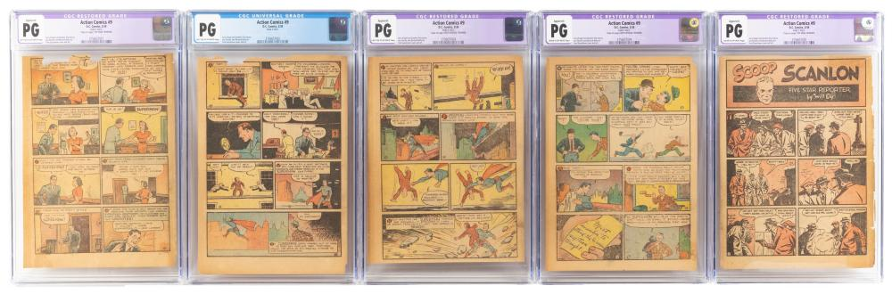 ACTION COMICS #9 * Lot of 5 CGC-Certified Pages * 1939