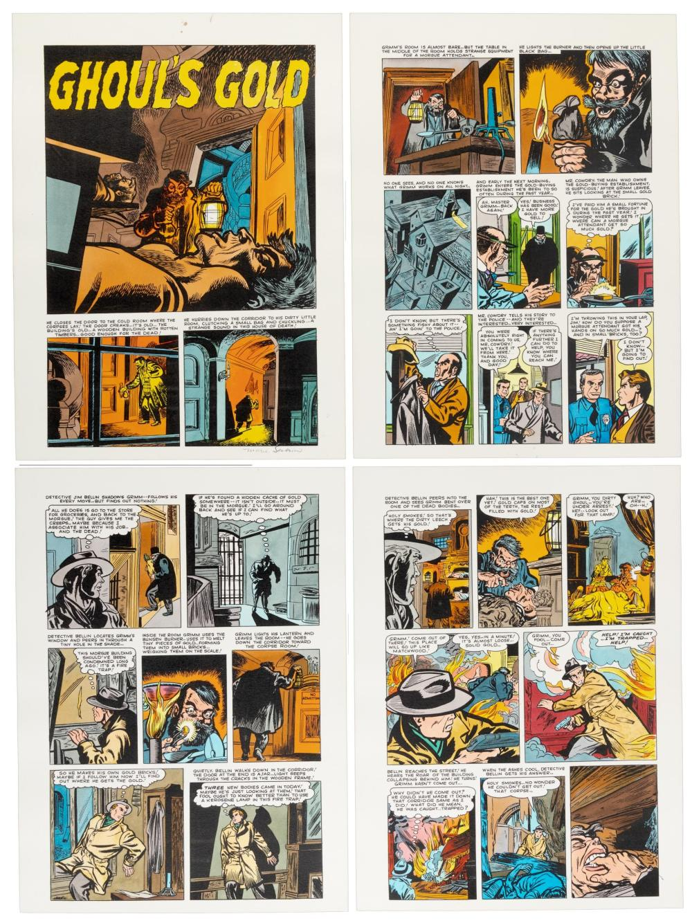 """MARIE SEVERIN Hand-Colored Printer's Proof, Krigstein's """"Ghoul's Gold"""""""