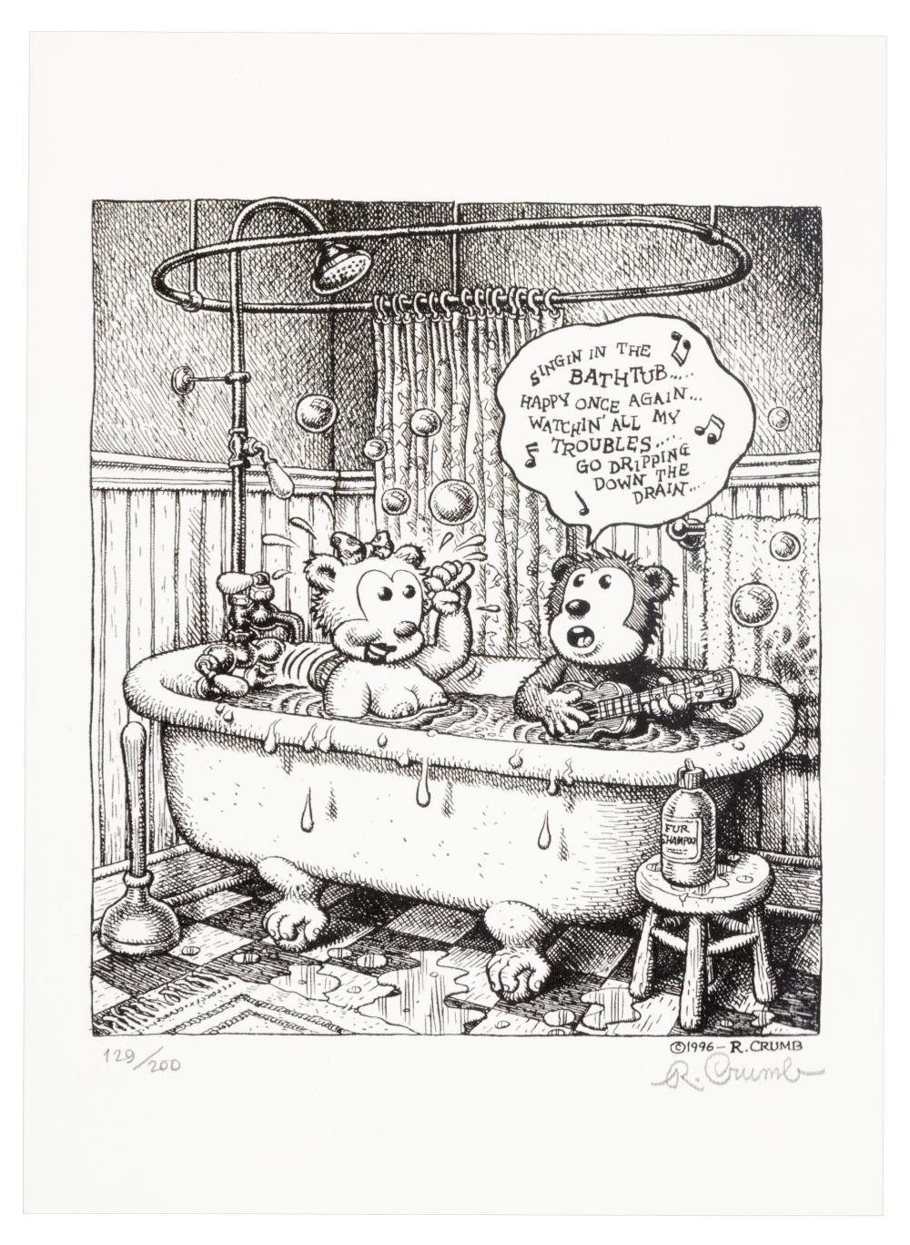R. CRUMB Bears in the Tub Print Signed Ltd Ed. Print