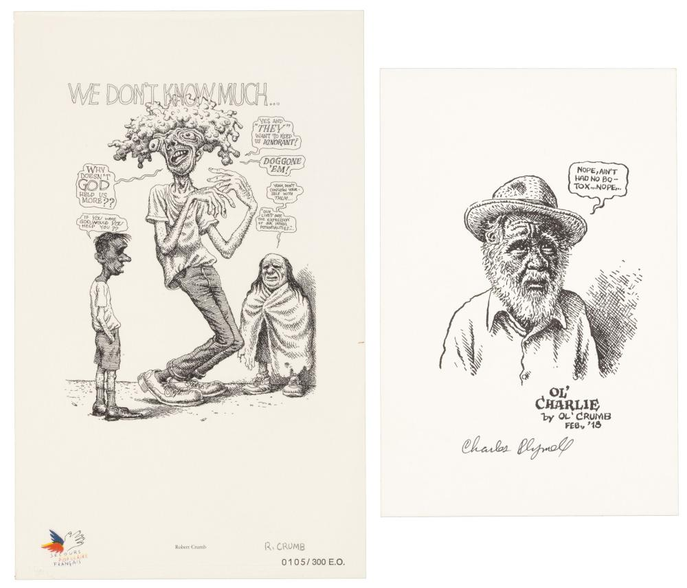 R. CRUMB & Charles PLYMELL* 2 Signed Prints