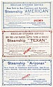 Three sailing cards for steamers from New York to Hawaii with stops on the West Coast