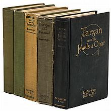 Five first editions of Tarzan books, all published by A.C. Mclurg