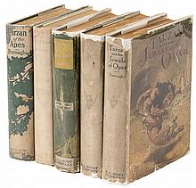 The first five Tarzan novels in Burt reprints with jackets