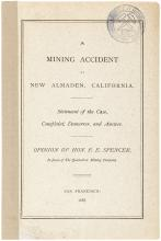 A mining accident at New Almaden, California. Statement of the case, complaint, demurrer, and answer. Opinion of Hon. F.E. Spencer, in favor of The Quicksilver Mining Company