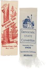 Two 1902-04 Silk ribbons for Democratic State Convention delegates, Sacramento and Santa Cruz