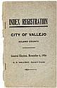 Index Registration, City of Vallejo Solano County. General Election, November 6, 1906