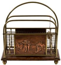 Antique copper and wood magazine rack with golfer illustration