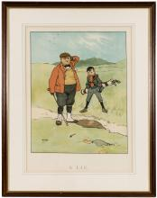 Two golf color lithographs by John Hassall