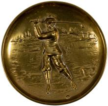 Solid brass ashtray with golfer illustration
