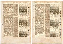 Two leaves from the Complutensian Polyglot Bible, from the Book of Ezekiel