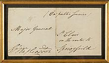WITHDRAWN. Signed and hand-addressed envelope panel, addressed to Major-General [Arthur] St. Clair with George Washington's signature frank