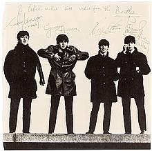 Halftone photograph of all four Beatles, signed by each of them, and inscribed to Liberace (