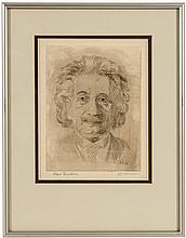 Original etched portrait of Albert Einstein, signed by both Einstein & the artist J.J. Muller