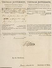 WITHDRAWN. Printed Ship's Papers signed by Thomas Jefferson as President of the United States and James Madison as Secretary of State