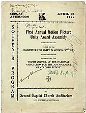 Souvenir Program, First Annual Motion Picture Unity Award Assembly. Staged by the Committee for Unity in Motion Pictures, Sponsored by the Youth Council of the National Association for the Advancement of Colored People. April 23, 1944 at Second