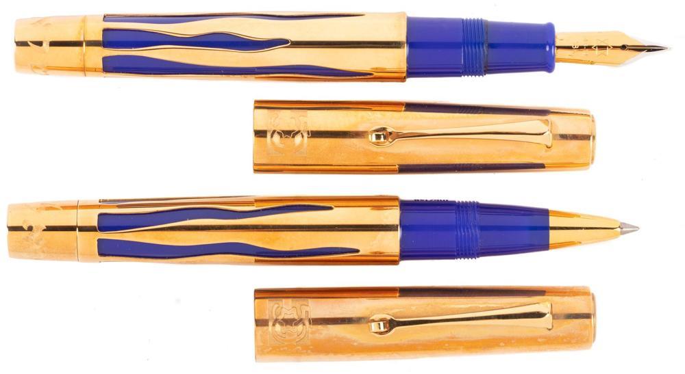 OMAS Israel 50th Jubilee 18K GOLD Rollerball & Fountain Pen Pair