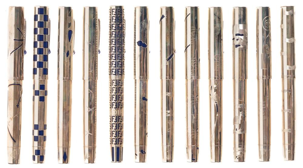 OMAS UNICEF Lot of 22 STERLING SILVER Ltd Fountain Pens