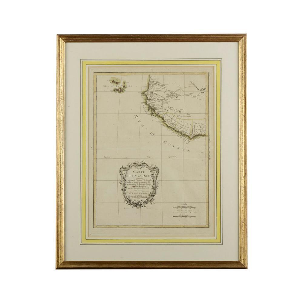 Mapa. Bonne. Costa da Guiné. Emoldurado.