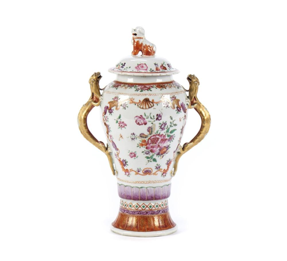 Urna com tampa em porcelana chinesa CI