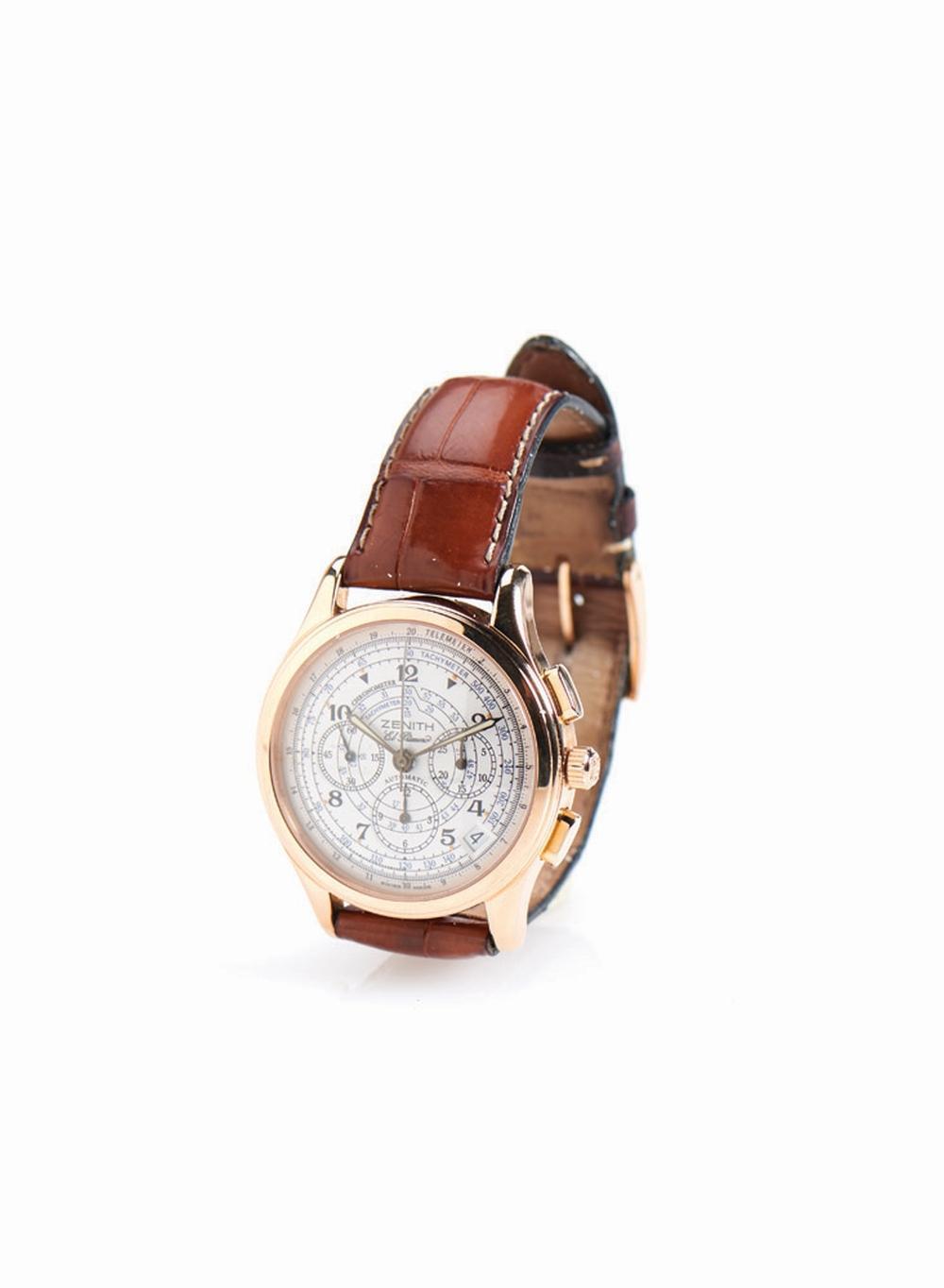 Relógio de pulso, Zenith El primeiro, ouro 750%