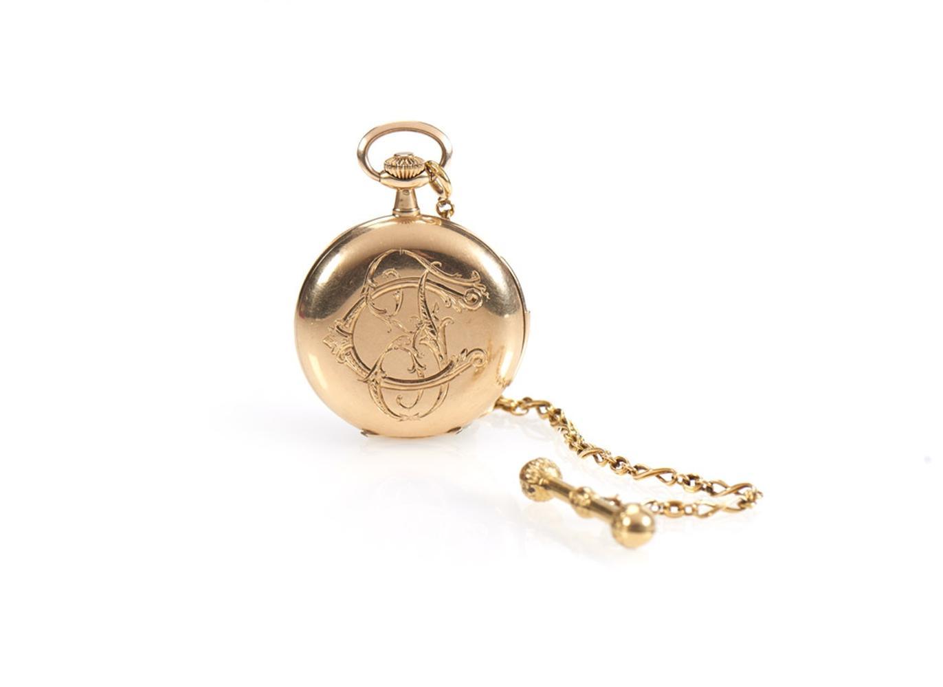Relógio de bolso em ouro 750%, P.bruto:88,3g