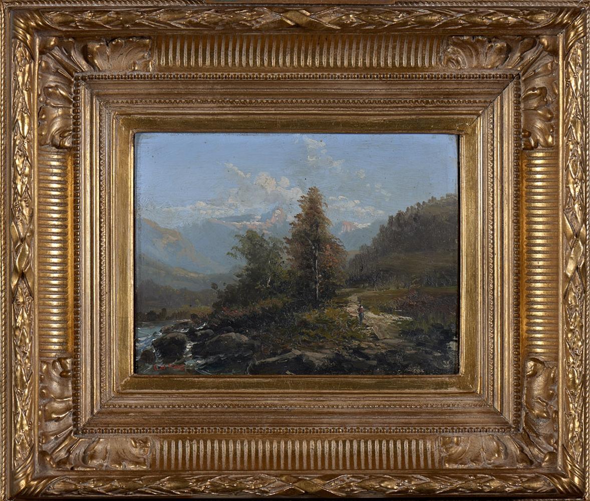 DE HAES, Carlos, Óleo s/madeira, 18 x 24 cm.