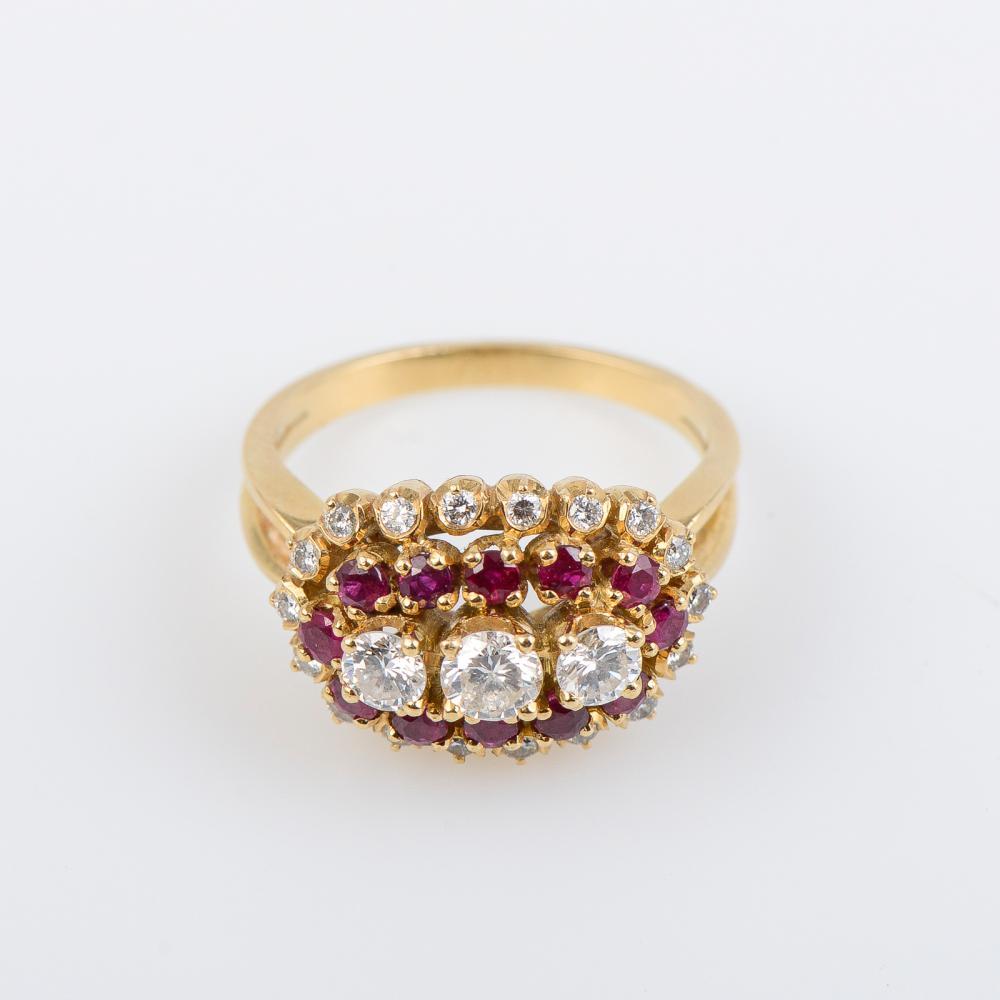 Anel ouro 800 ml, rubis e diamantes, P.8,4g