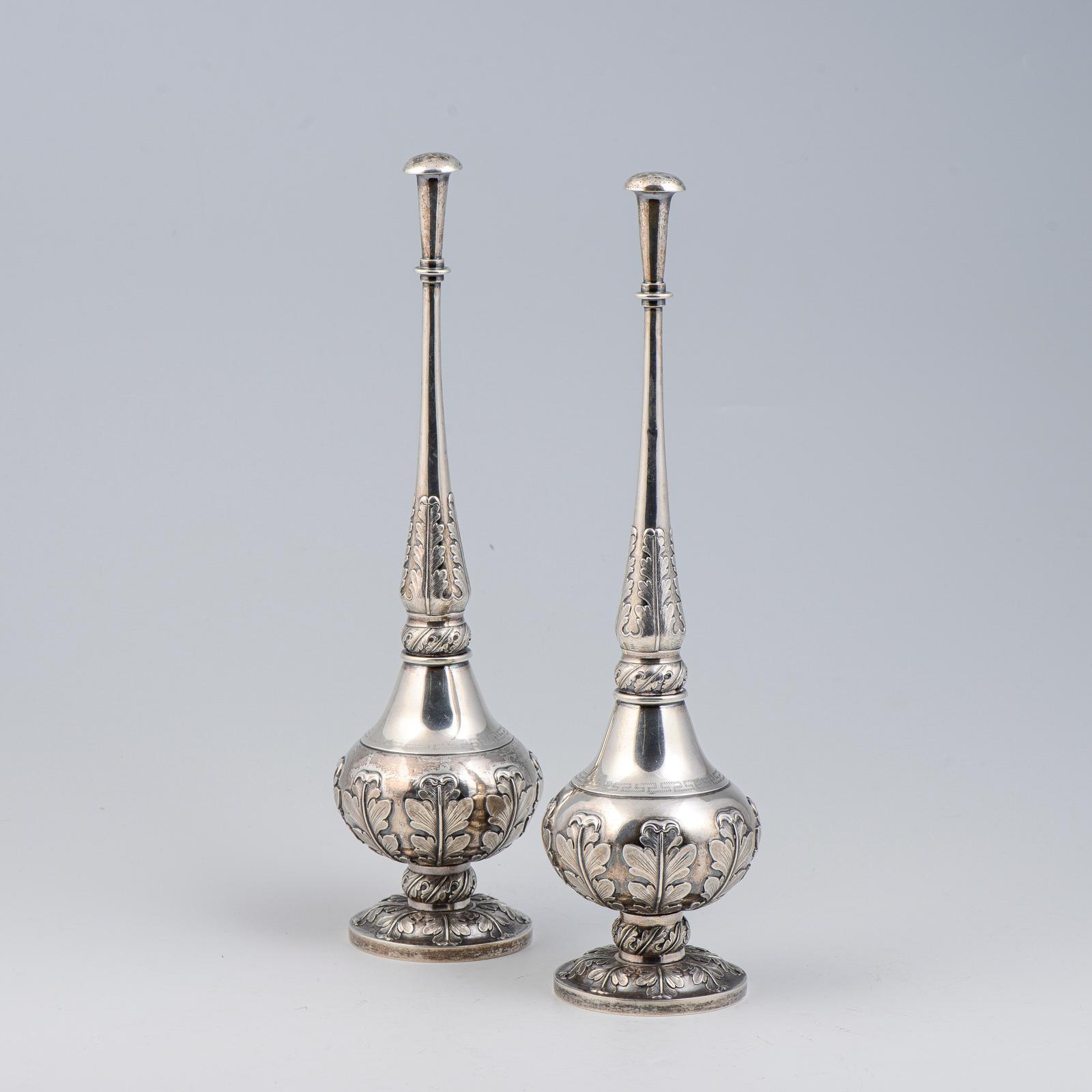 Par de piveteiros em prata indiana, P.1034g