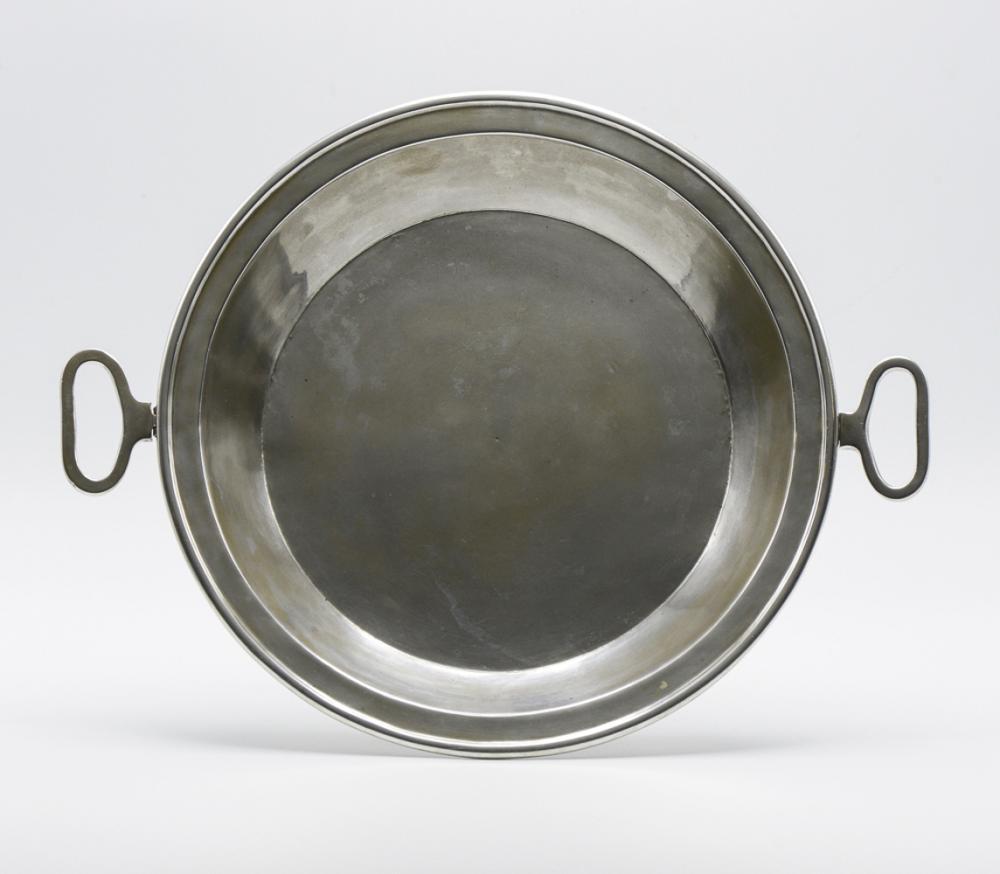 Deep silver metal bowl