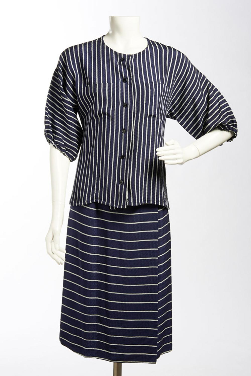 Lanvin, blouse and skirt in blue fabric with stripes