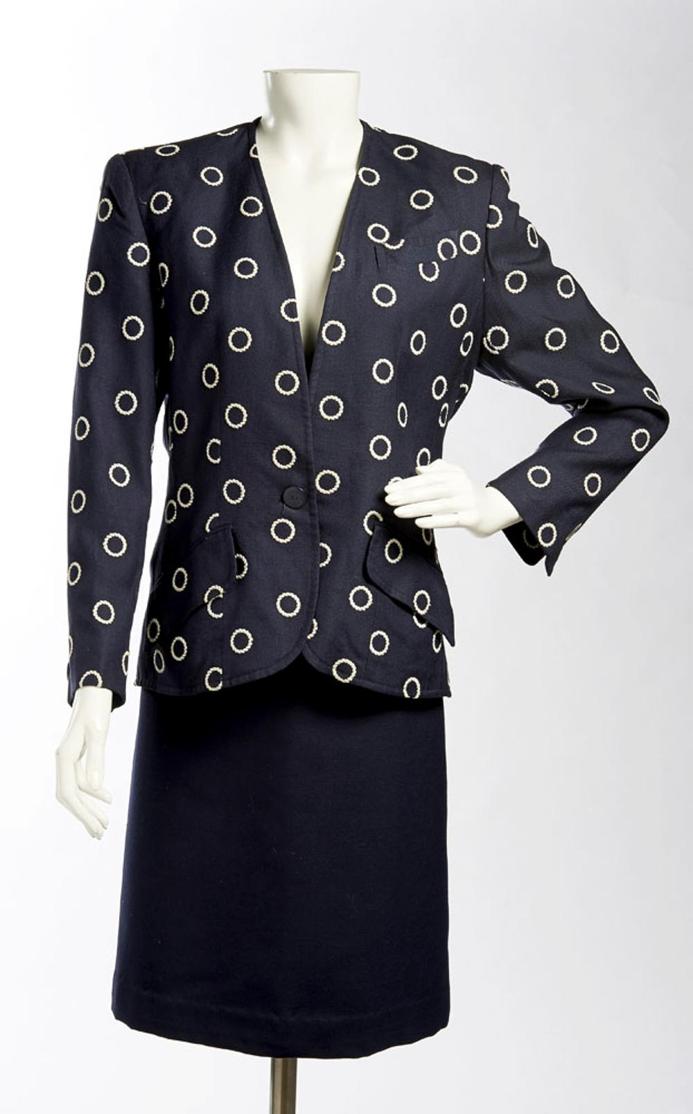 Celine, blazer and skirt in embroidered blue fabric