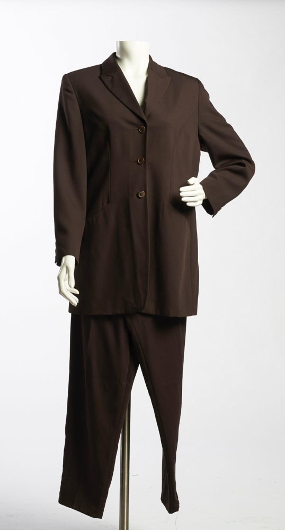 """""""Hirsch"""" brown fabric jacket and pants"""