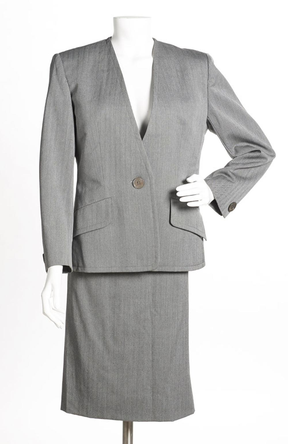 Celine, coat and skirt in gray and black