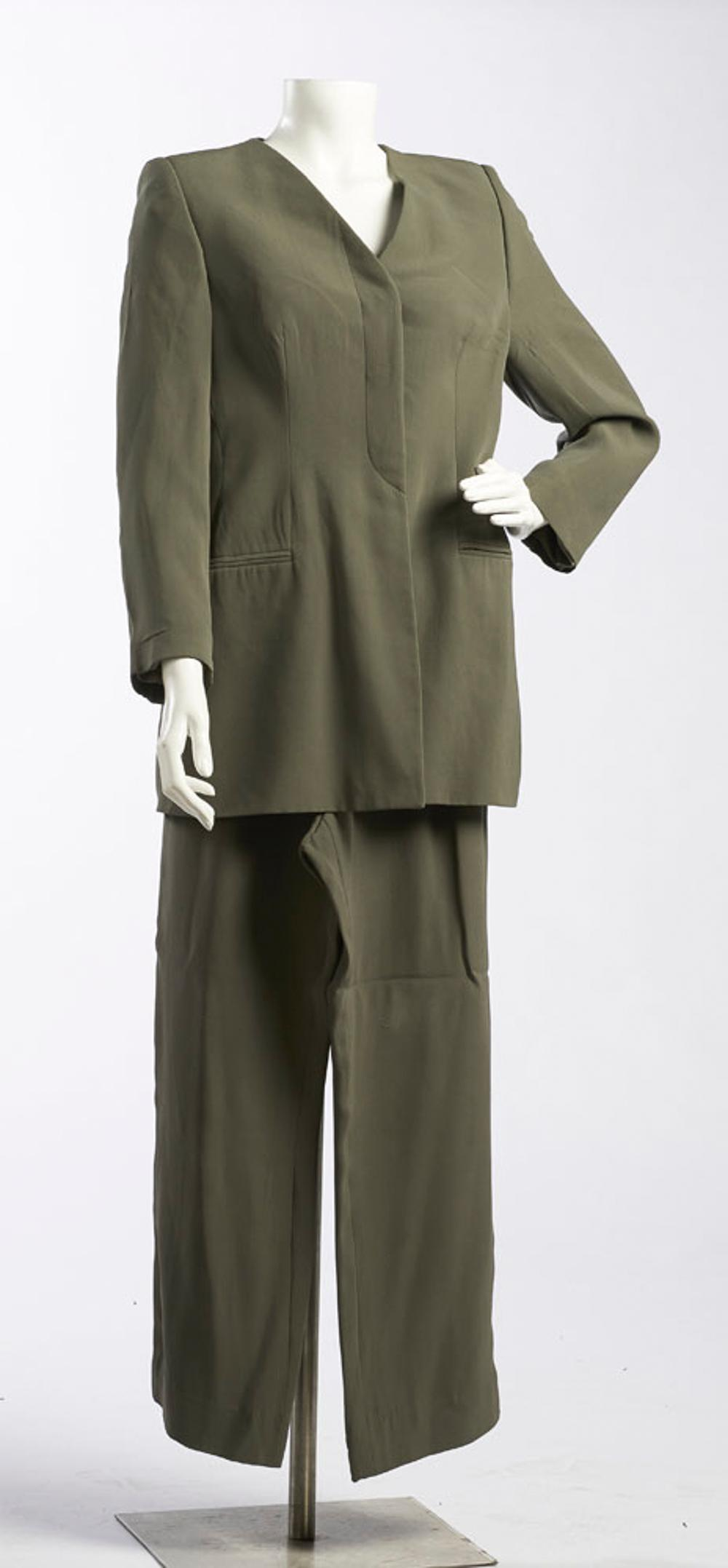 Giorgio Armani, jacket and pants in green tones