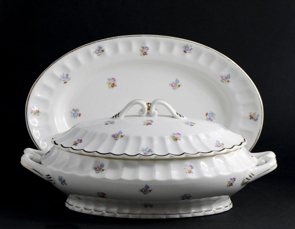 Conj. bowl with serving tray, Coimbra porcelain